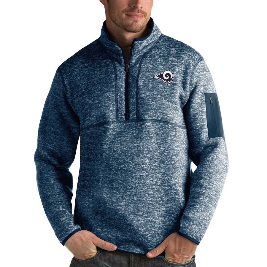 Los Angeles Rams Antigua Fortune Quarter-Zip Pullover Jacket Navy