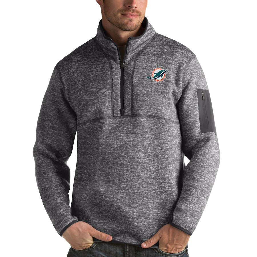 Miami Dolphins Antigua Fortune Quarter-Zip Pullover Jacket Charcoal