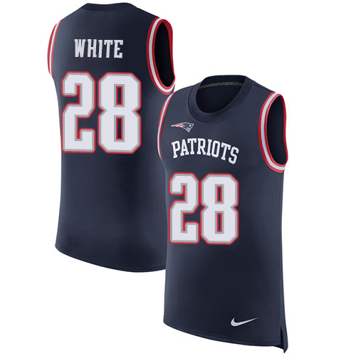 Nike Patriots #28 James White Navy Blue Team Color Men's Stitched NFL Limited Rush Tank Top Jersey