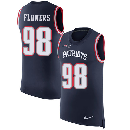 Nike Patriots #98 Trey Flowers Navy Blue Team Color Men's Stitched NFL Limited Rush Tank Top Jersey