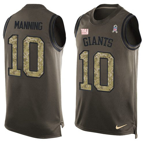 Nike Giants #10 Eli Manning Green Men's Stitched NFL Limited Salute To Service Tank Top Jersey