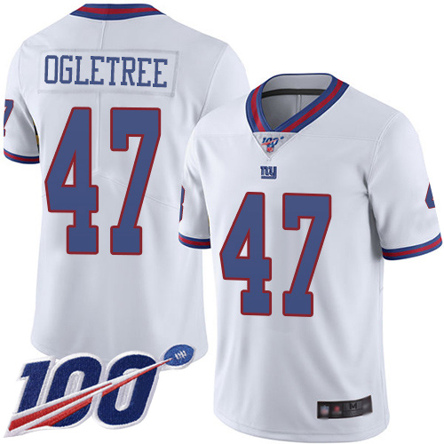 Nike Giants #47 Alec Ogletree White Men's Stitched NFL Limited Rush 100th Season Jersey