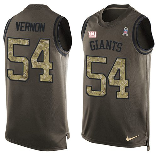 Nike Giants #54 Olivier Vernon Green Men's Stitched NFL Limited Salute To Service Tank Top Jersey