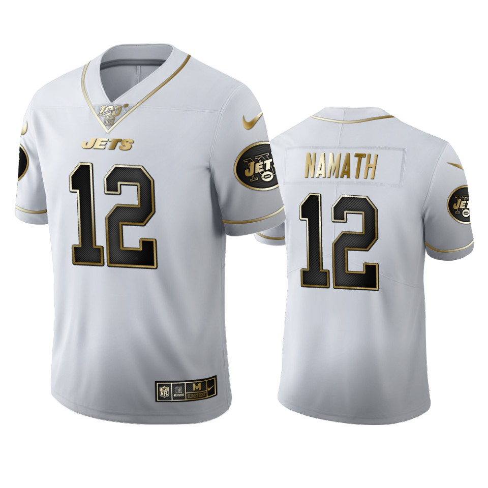 New York Jets #12 Joe Namath Men's Nike White Golden Edition Vapor Limited NFL 100 Jersey