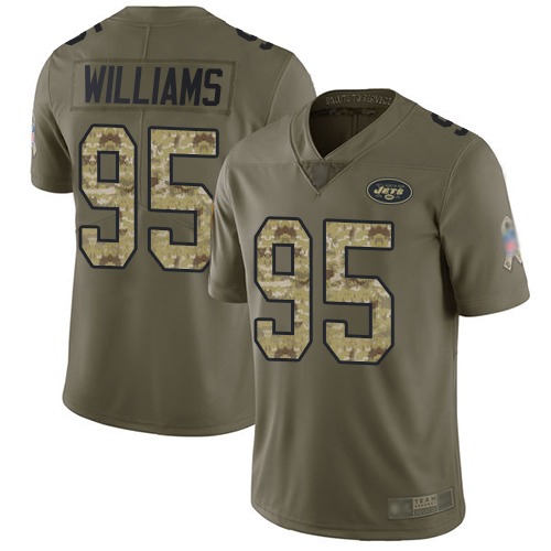 Nike Jets #95 Quinnen Williams Olive/Camo Men's Stitched NFL Limited 2017 Salute To Service Jersey