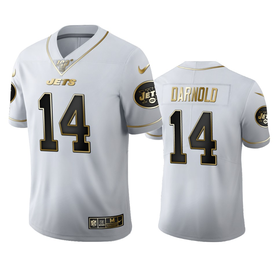 New York Jets #14 Sam Darnold Men's Nike White Golden Edition Vapor Limited NFL 100 Jersey