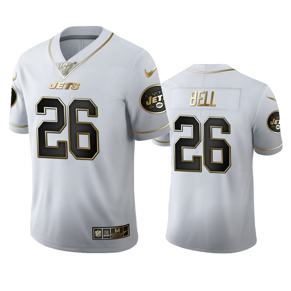 New York Jets #26 Le'Veon Bell Men's Nike White Golden Edition Vapor Limited NFL 100 Jersey