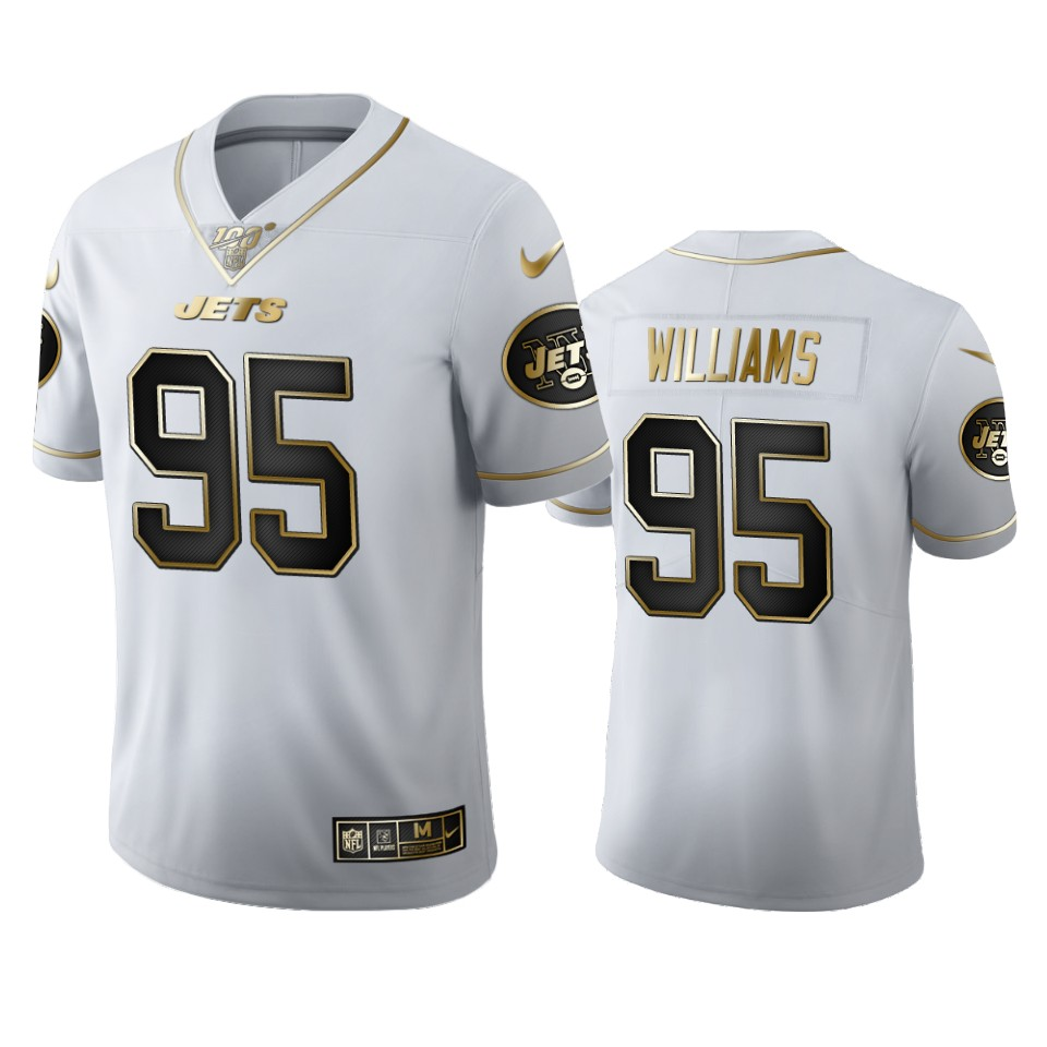 New York Jets #95 Quinnen Williams Men's Nike White Golden Edition Vapor Limited NFL 100 Jersey