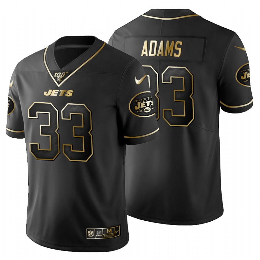 New York Jets #33 Jamal Adams Men's Nike Black Golden Limited NFL 100 Jersey