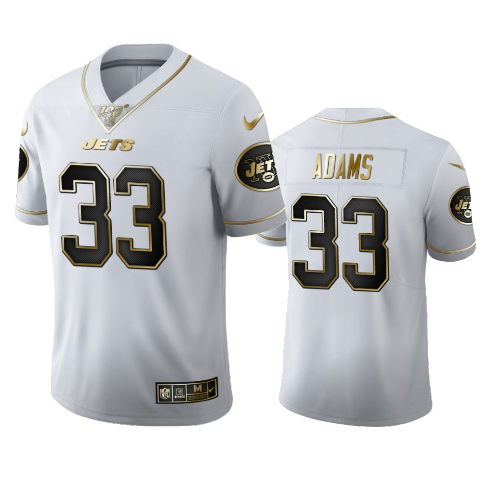 New York Jets #33 Jamal Adams Men's Nike White Golden Edition Vapor Limited NFL 100 Jersey