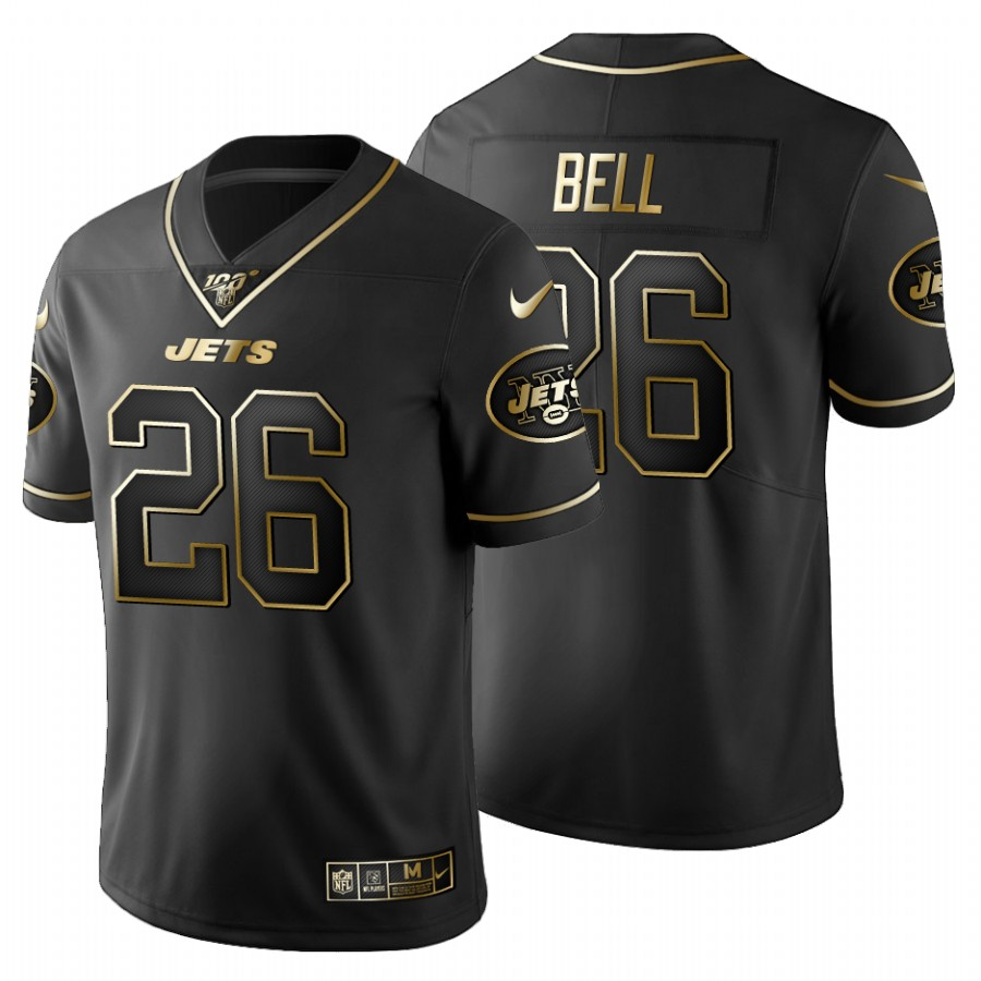 New York Jets #26 Le'Veon Bell Men's Nike Black Golden Limited NFL 100 Jersey