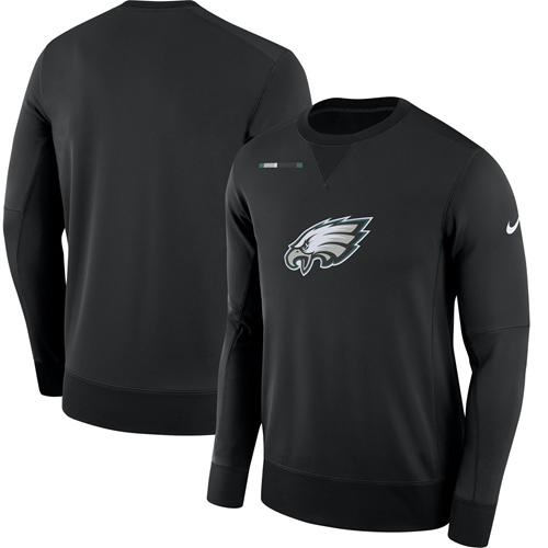 Men's Philadelphia Eagles Nike Black Sideline Team Logo Performance Sweatshirt
