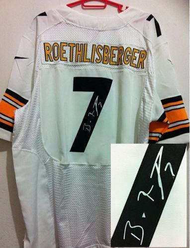 Nike Steelers #7 Ben Roethlisberger White Men's Stitched NFL Elite Autographed Jersey