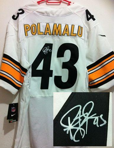 Nike Steelers #43 Troy Polamalu White Men's Stitched NFL Elite Autographed Jersey
