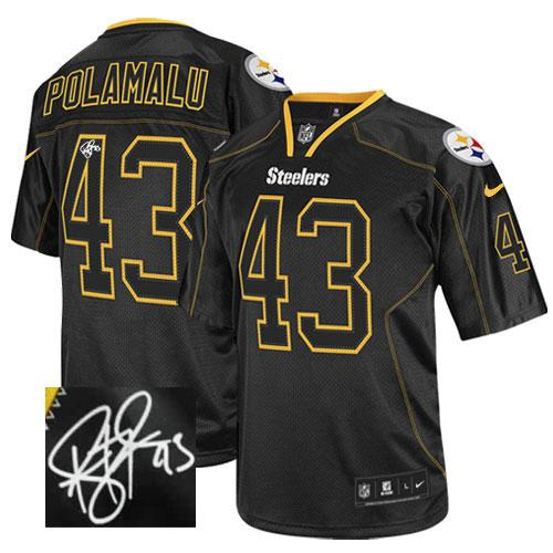 Nike Steelers #43 Troy Polamalu Lights Out Black Men's Stitched NFL Elite Autographed Jersey