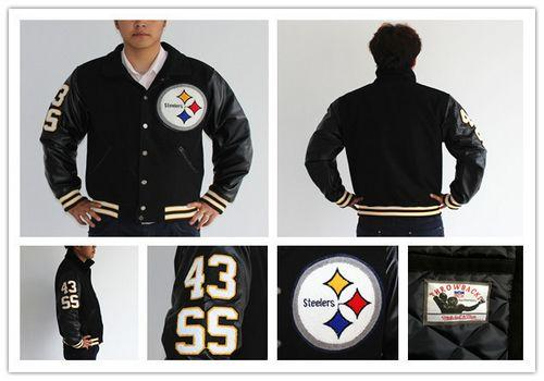 Mitchell And Ness NFL Pittsburgh Steelers #43 Troy Polamalu Authentic Wool Jacket