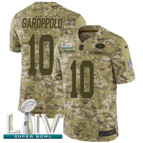 Nike 49ers #10 Jimmy Garoppolo Camo Super Bowl LIV 2020 Men's Stitched NFL Limited 2018 Salute To Service Jersey