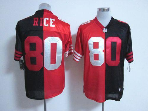 Nike 49ers #80 Jerry Rice Black/Red Men's Stitched NFL Elite Split Jersey