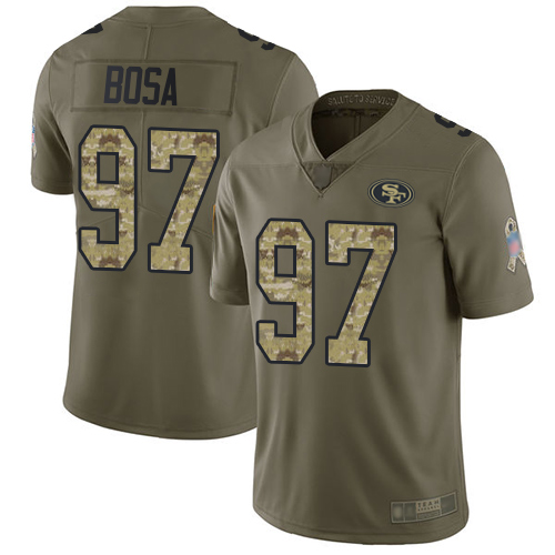 Nike 49ers #97 Nick Bosa Olive/Camo Men's Stitched NFL Limited 2017 Salute To Service Jersey
