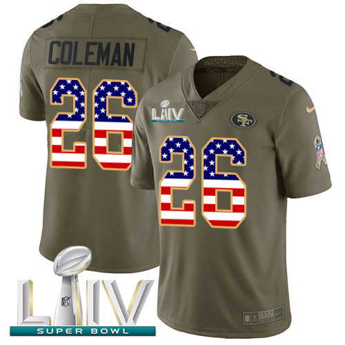 Nike 49ers #26 Tevin Coleman Olive/USA Flag Super Bowl LIV 2020 Men's Stitched NFL Limited 2017 Salute To Service Jersey
