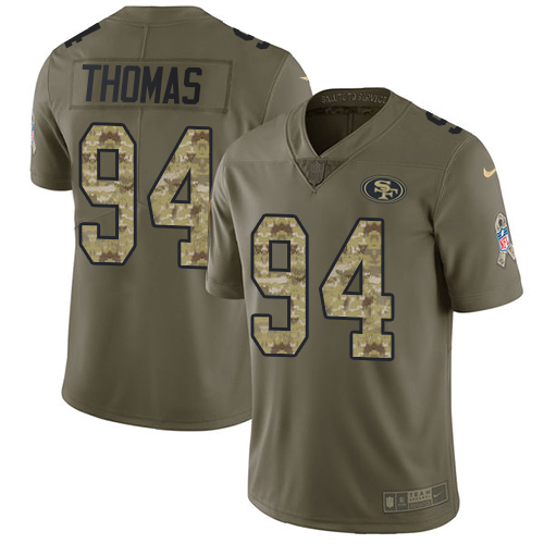 Nike 49ers #94 Solomon Thomas Olive/Camo Men's Stitched NFL Limited 2017 Salute To Service Jersey