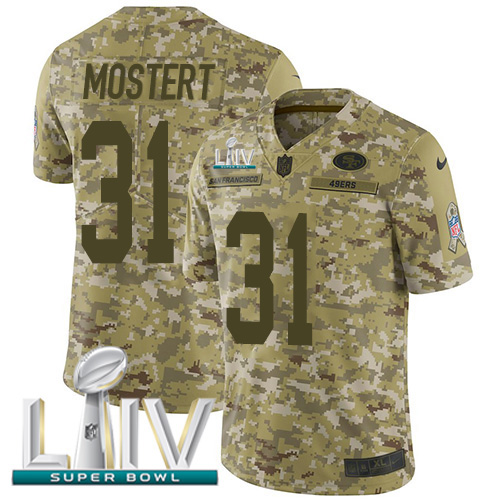 Nike 49ers #31 Raheem Mostert Camo Super Bowl LIV 2020 Men's Stitched NFL Limited 2018 Salute To Service Jersey