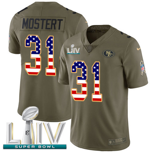Nike 49ers #31 Raheem Mostert Olive/USA Flag Super Bowl LIV 2020 Men's Stitched NFL Limited 2017 Salute To Service Jersey