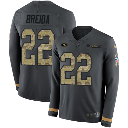 Nike 49ers #22 Matt Breida Anthracite Salute to Service Men's Stitched NFL Limited Therma Long Sleeve Jersey