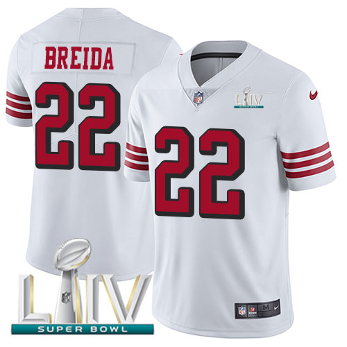 Nike 49ers #22 Matt Breida White Super Bowl LIV 2020 Rush Men's Stitched NFL Vapor Untouchable Limited Jersey