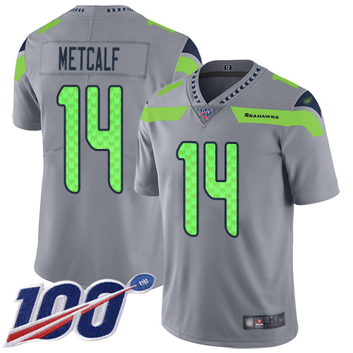 Nike Seahawks #14 D.K. Metcalf Gray Men's Stitched NFL Limited Inverted Legend 100th Season Jersey
