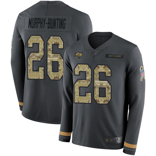 Nike Buccaneers #26 Sean Murphy-Bunting Anthracite Salute to Service Men's Stitched NFL Limited Therma Long Sleeve Jersey