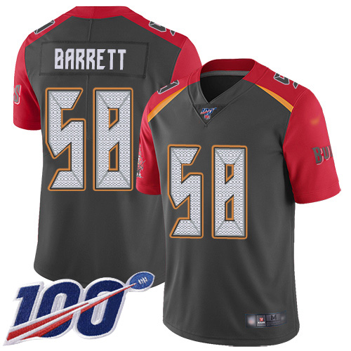 Nike Buccaneers #58 Shaquil Barrett Gray Men's Stitched NFL Limited Inverted Legend 100th Season Jersey