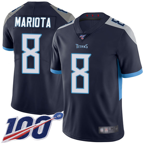 Nike Titans #8 Marcus Mariota Navy Blue Team Color Men's Stitched NFL 100th Season Vapor Limited Jersey