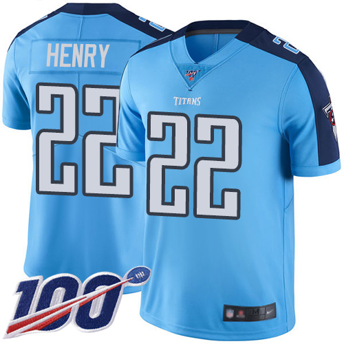 Nike Titans #22 Derrick Henry Light Blue Men's Stitched NFL Limited Rush 100th Season Jersey
