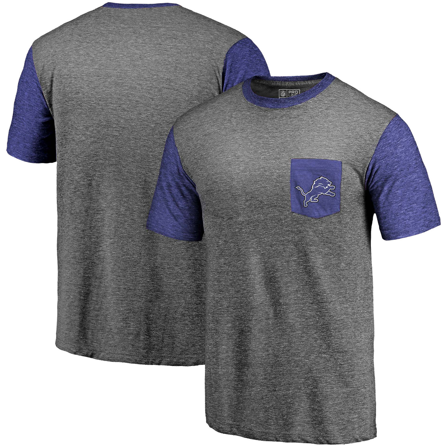 Men's Detroit Lions Pro Line by Fanatics Branded Heathered Gray-Blue Refresh Pocket T-Shirt