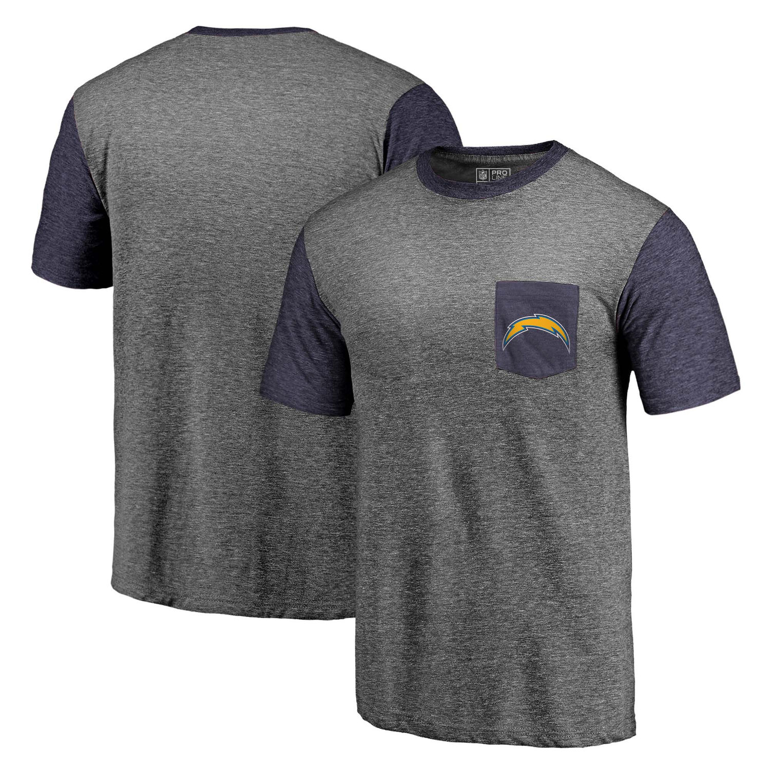 Men's Los Angeles Chargers NFL Pro Line by Fanatics Branded Heathered Gray-Navy Refresh Pocket T-Shirt