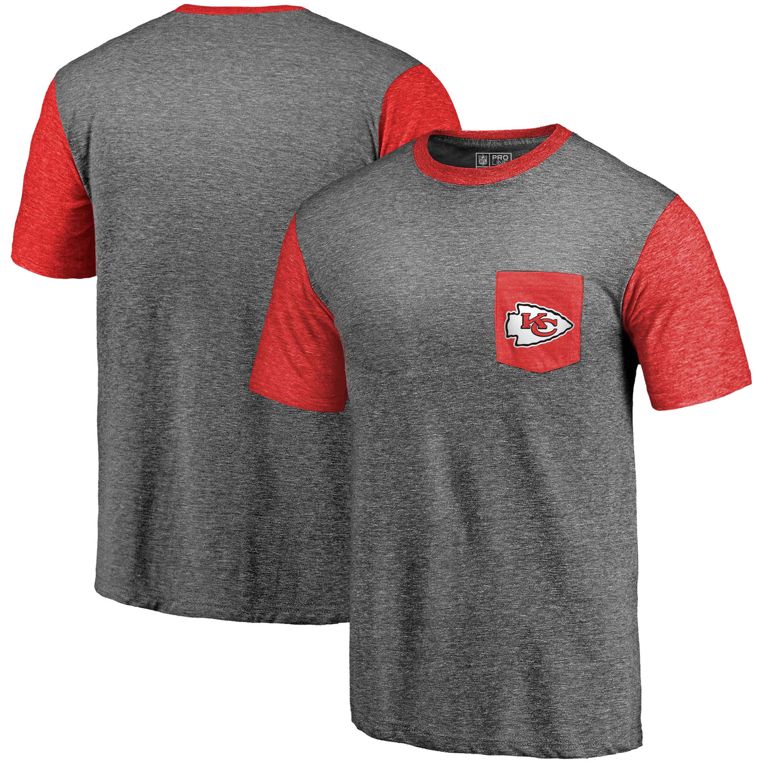 Men's Kansas City Chiefs Pro Line by Fanatics Branded Heathered Gray-Red Refresh Pocket T-Shirt