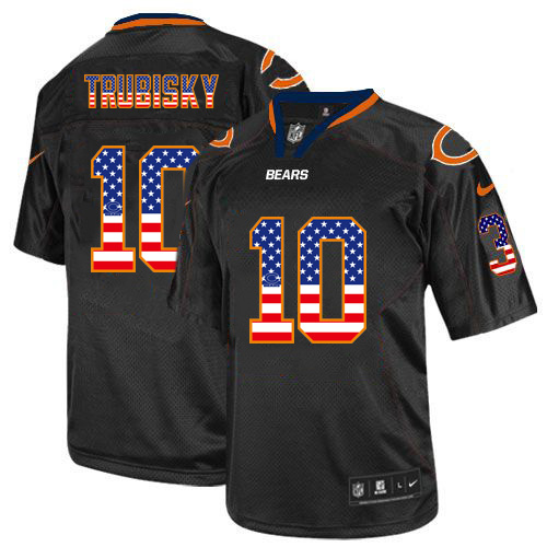 Men's Nike Bears #10 Mitchell Trubisky Black USA Flag Fashion Elite Stitched Jersey