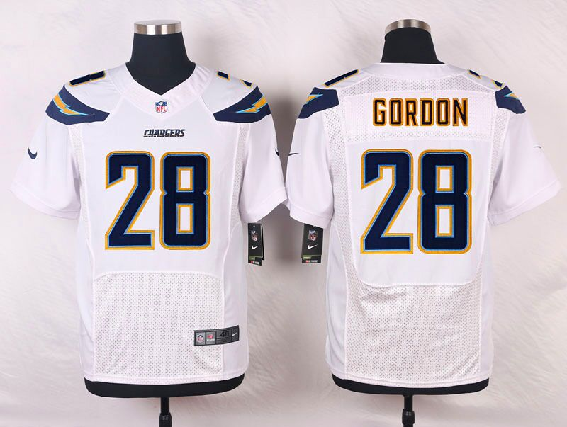 Men's Nike Los Angeles Chargers #28 Melvin Gordon White Stitched NFL Elite Jersey