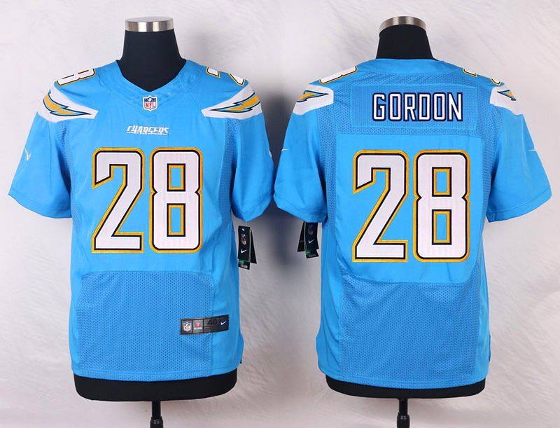 Men's Nike Los Angeles Chargers #28 Melvin Gordon Electric Blue Alternate Stitched NFL Elite Jersey