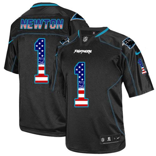 Men's Nike Panthers #1 Cam Newton Black USA Flag Fashion Elite Stitched Jersey