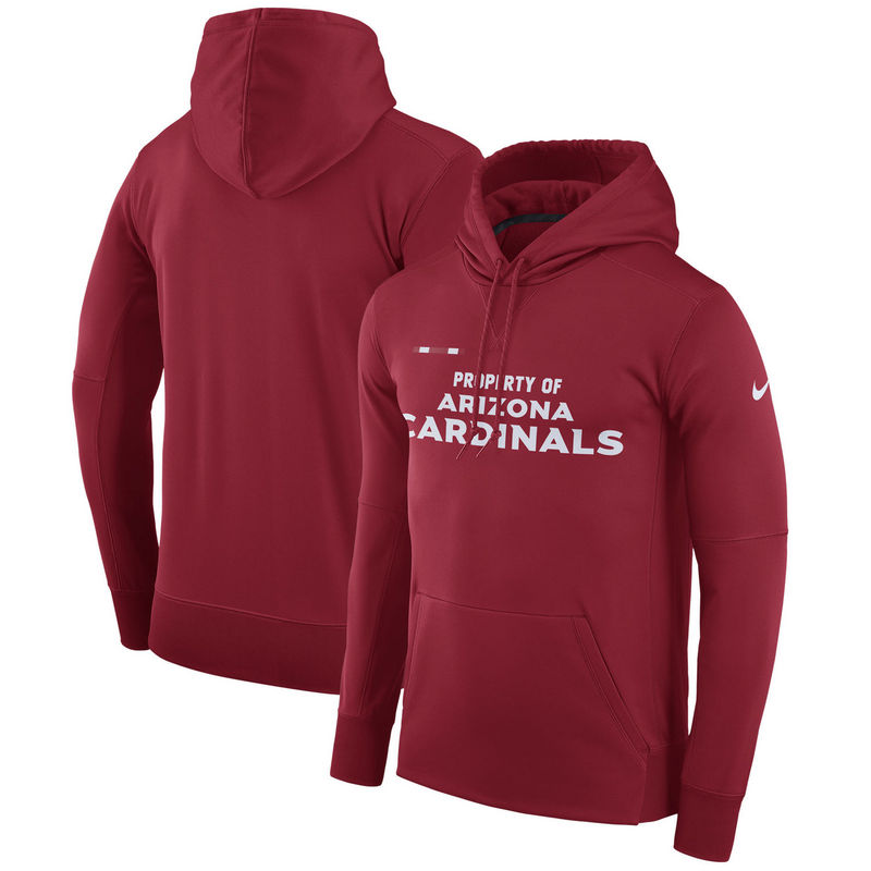 Men's Arizona Cardinals Nike Cardinal Sideline Property Of Performance Pullover Hoodie