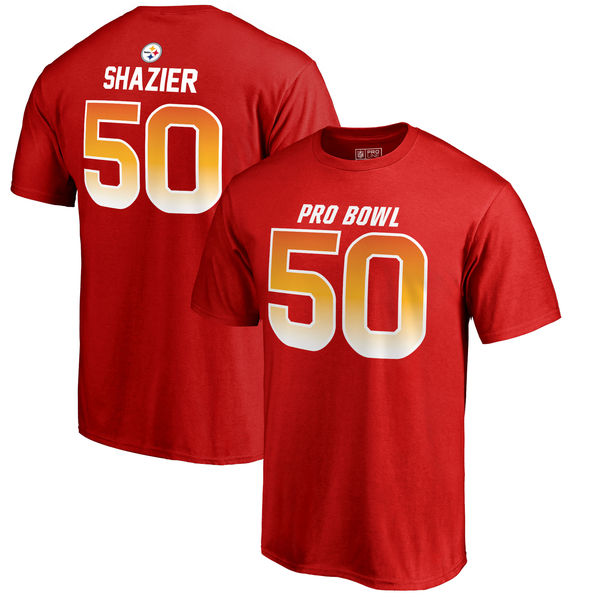 Steelers Ryan Shazier AFC Pro Line 2018 NFL Pro Bowl Red T-Shirt