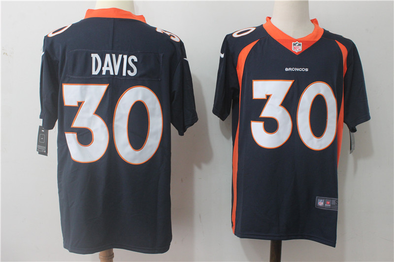 Men's Nike Denver Broncos #30 Terrell Davis Navy Blue Alternate Stitched NFL Vapor Untouchable Limited Jersey