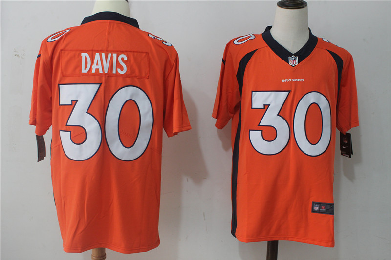 Men's Nike Denver Broncos #30 Terrell Davis Orange Team Color Stitched NFL Vapor Untouchable Limited Jersey