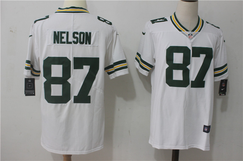 Men's Nike Green Bay Packers #87 Jordy Nelson White Stitched NFL Vapor Untouchable Limited Jersey