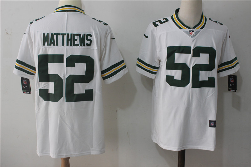 Men's Nike Green Bay Packers #52 Clay Matthews White Stitched NFL Vapor Untouchable Limited Jersey