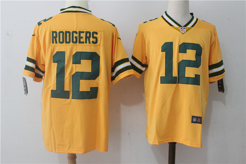Men's Nike Green Bay Packers #12 Aaron Rodgers Yellow Stitched NFL Limited Rush Jersey