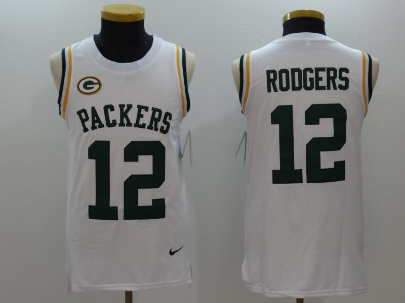 Men's Green Bay Packers #12 Aaron Rodgers White Limited Tank Top Jersey