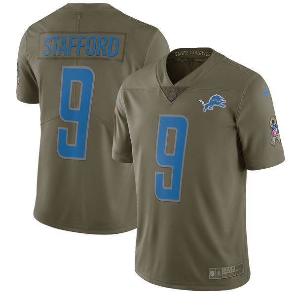 Men's Nike Detroit Lions #9 Matthew Stafford Olive Salute To Service Limited Stitched NFL Jersey